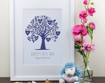 Blue Family Tree Personalised Art Print