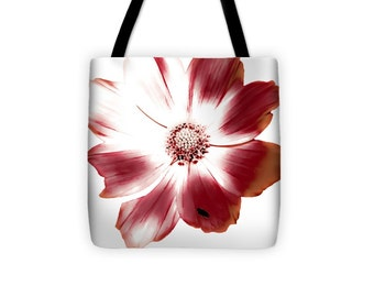 Red and White Floral Bag, Red White Flower Petals,floral purse,beach bag,Shoulder bag,13x13 16x16 18x18 Beach tote Fashion Flower