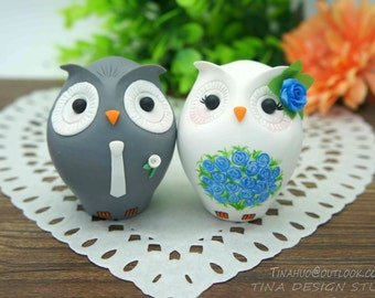 Owl Wedding Cake Toppers-Personalised Bride And Groom Owl Wedding Cake Toppers Blue Theme