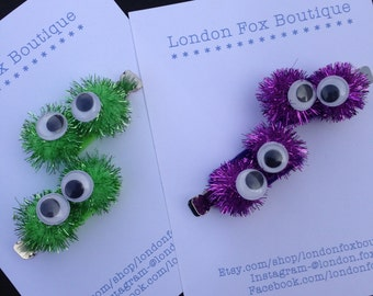 Halloween; Halloween Hair Clips; Halloween Hair Accessories; Hair accessories;  Sparkly lil monster