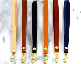Minimalist Leather Key Fob Leather Wristlet Removable Leather Strap Clutch Strap