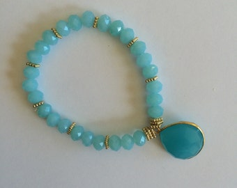 Aqua Blue Chalcedony Stone Bracelet With Pale Aqua Beads and Gold Accents