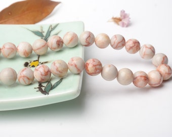 Natural Pink Red Stone/White Fossil Beads, Round 6/8/10mm Semi Precious Stone Loose Beads for Necklace Bracelet Making