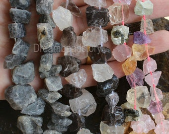 Natural Chunky Gemstone Beads Mixed Raw Healing Crystals and Gemstones Irregular Nugget Beads