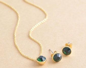 May Emerald Birthstone Swarovski Crystal Brass Round Necklace OR Earrings (BN424-G,BN424G-E)