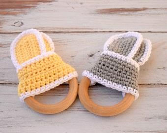 Teething Ring , Wooden Teething Ring , Crochet Teething Ring , Wooden Baby Toys , Montessori Baby Toys , Baby Gift Set , Wooden Teething Toy