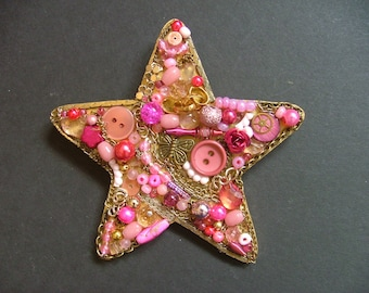 Pink and Gold Star, Jewellery Collage, Wall Hanging