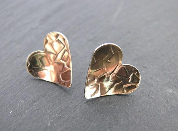 Sterling Silver Handmade Textured Heart Studs - Handmade in Wales