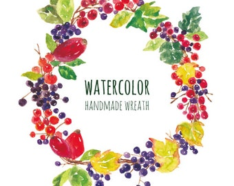 berries in the garden,watercolor wreath,fall,autumn,watercolor clipart,digital download