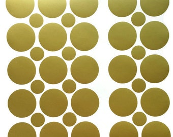 50 2 inch Removable Vinyl Gold Polka Dot Stickers, Metallic Removable Wallpaper, Polka Dot Wall Decals, Circle Stickers with FREE stickers