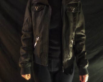 Studded Charcoal Faux Leather Jacket