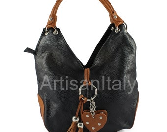 Black Leather hobo handbag handmade Italian leather shoulder bag black 33x32x12cm