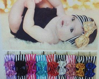 Striped/ sparkly bow headband