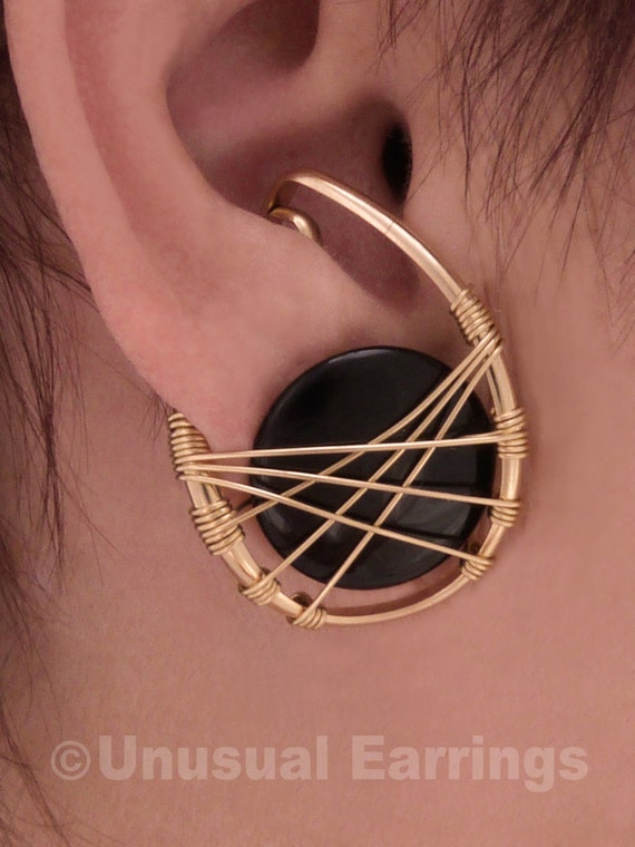 Gold Filled unpierced earrings non-pierced earrings black