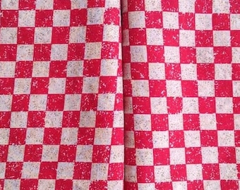 Fat Quarter - Red Checker Print Cotton Fabric