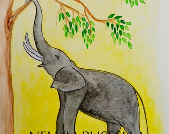 Elephant and leaves-Giclee print of Watercolor painting