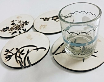 Wood Coasters Carved with Flowers and Chinese Characters -Set of 4