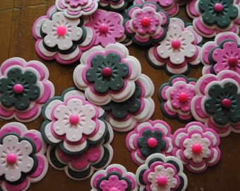 Handmade Paper Flower Embellishments, set of 25, shades of pink + black