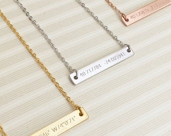 Custom Bar Necklace- Custom Letter Necklace, Personal Necklaces, Thin Bar Necklace, Custom Personalized Jewelry, Engrave Both Sides