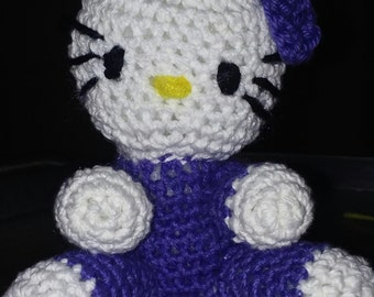 "Hello kitty crochet stuffed animal 6"" tall"