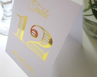 Wedding Table Number Cards - Personalised- Tent Style -  double sided Silver / Gold / Rose Gold