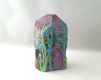 Handmade Wooden Carved FAIRY HOUSE Magical Fantasy Woodland Garden Lilac and beautiful Bluebells