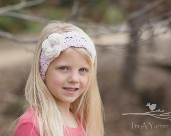 Little Girl Headband, Pink Headband, Crochet Lace Headband, Crochet Head Band, Crochet Headband, Baby Headband, Birthday Gift, Girl Birthday