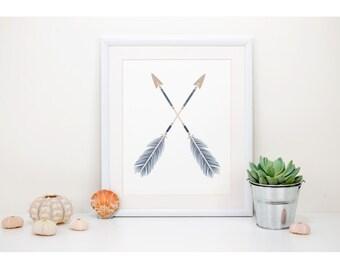 Brown & Navy Tribal Arrow Printable Wall Art