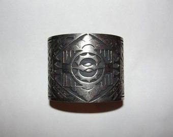 Sterling Silver Etched Massive Mexican Cuff Bracelet Unisex