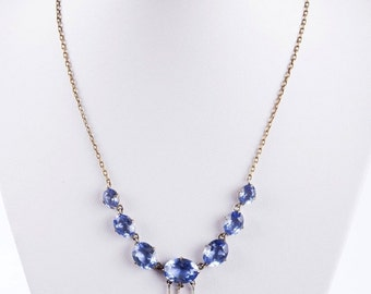 Art Deco Brass and Blue Paste Drop Necklace