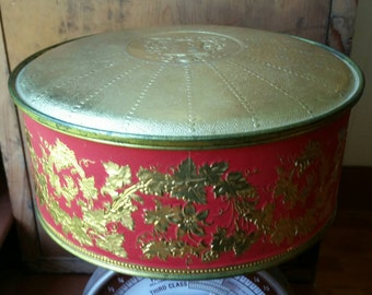 Large Round Tin Box/ Red and Gold Tin Box/ Red and Gold Decor/ Round Tin Container/ Vintage Guildcraft Decorative Tin Box/ Guildcraft Tin