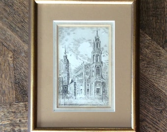 Matted Framed Sepia Steel Plate Engraving of Old Gothic Cathedral at Dresden, Saxony