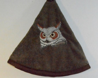 Embroidered Towel - Horned Owl