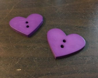 2 Large Heart Buttons: Purple