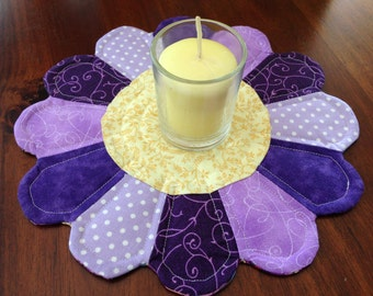 Dresden Inspired Candle Mat, Butterfly Table Decor, Purple Table Topper
