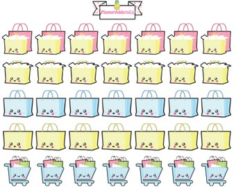 Kawaii Shopping / Retail Therapy / Shopping Bag Planner Stickers!