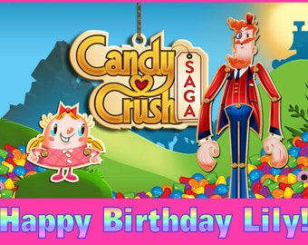 Personalized Birthday Party Holiday Edible Image Icing Frosting Sheet Cake Topper - 1/4 Sheet Sized - CANDY CRUSH SAGA