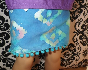 Blue Batik Summer Chill Gear Cotton Knee Length Skirt with Pompom Trim for 18-inch Dolls
