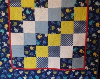 baby quilt, gender neutral baby quilt, baby boy quilt, baby boy gift, nursery decor, blue quilt, blue baby quilt