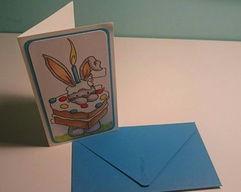 Happy Bunny! - blue- card