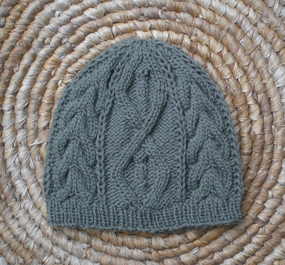 Knit Beanie Pattern Worsted Weight : Knitting PATTERN, Cable knit beanie pattern for women and ...