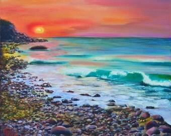 Sea art , oil sea painting , seascape painting , fine oil painting , original sea art , sea wall art , seascape decoration , colorful art