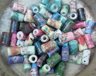 Porcelain Tube Beads, 10 in a set