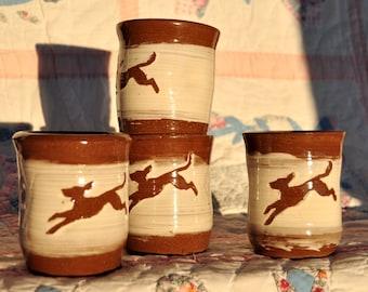 Hound Dog Tumbler Set, Handmade Ceramic Tumblers