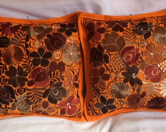 """1 PAIR of embroidered pillow covers 19.5"""" X 19.5"""" (50 cm X 50 cm)"""