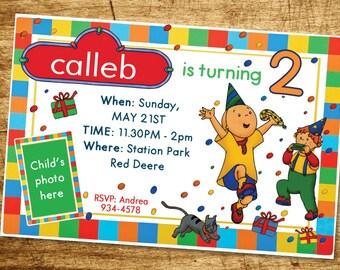 Caillou Invitation Birthday Party Caillou Party Invite YOU PRINT Digital File Boys Invitation