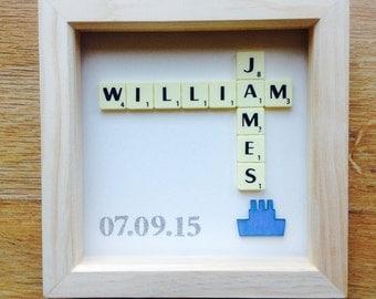 Boys Scrabble Personalised Christening/Birthday/New Baby Gift