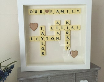 Scrabble Art Picture Frame present wall art