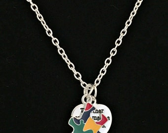 Autism Awareness Puzzle Necklace, Make a Difference