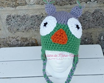 Tuque OWL gray and forest green size 3-5 years